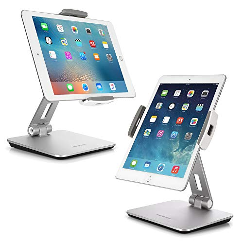 "AboveTEK Professional Business POS Tablet Stand, Flexible Tablet Mount for Home Office & Commercial Desktop with 360° Swivel Holders for Any 4-14"" Display Tablets or Cell Phones (Silver)"