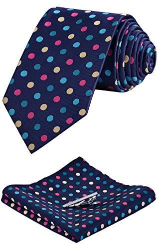 Vinlari Corbata Hombre Pañuelo Conjunto de Pinzas para Corbata Boda Conjunto Seda Pañuelo Negocio Lunares Elegante Estilo Casual Corbata Azul