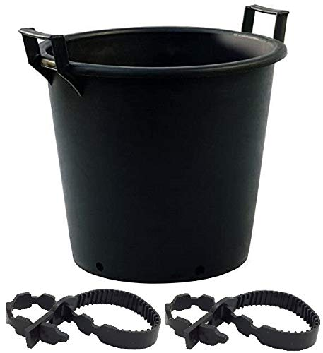 Photo of 2 x Large 100 Litre Plastic Plant Pots with Handles Outdoor Garden Tree Planters Containers (Comes with 2 x 40cm Soft Tree Ties)