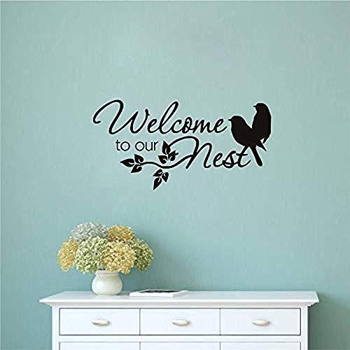 Twee vogels Muursticker Welkom bij onze Nest PVC Art Quote Decals voor Woonkamer Verwijderbare Lijm Muurstickers Home Decoratie 60 X 30Cm