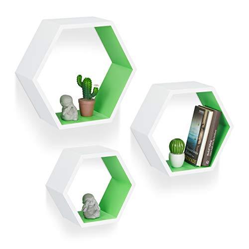 Relaxdays Wandregale sechseckig, Hängeregale 3er Set, freischwebende Dekoregale, Holzregale Kinderzimmer, MDF, weiß/grün