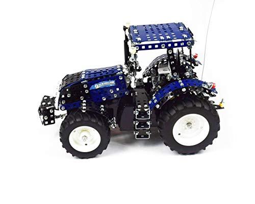 Tronico 10057 - Metallbaukasten Traktor New Holland T8 mit Fernsteuerung, Profi Serie, Maßstab 1:16, 732-teilig, blau*