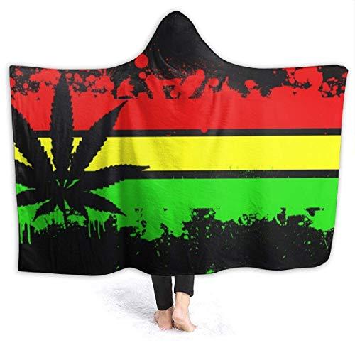AEMAPE Rainbow Jamaica Flag - Manta con Capucha para Mujer, Manta de Franela súper Suave, Sudadera con Capucha, Bata con Capucha, Capa con Capucha para Ver televisión en el SPA, 60 'x 50'