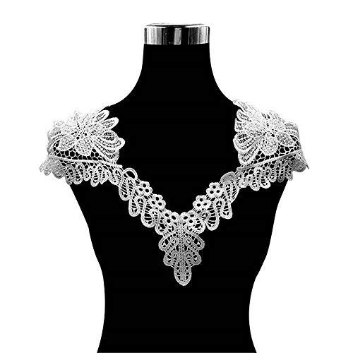 Hinleise Cuello de encaje bordado aplique hueco – Cuello floral 3D para...