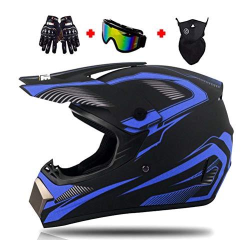 Motocross-Helm, Polyester Liner Motorradhelm Herren Cross-Helm mit Brille/Maske/Handschuhe, Motorrad Sports DH Enduro-Helm ATV MTB Quad Motorräder Off-Road-Helm für Männer Damen,C,L
