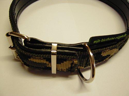 MJH Biothane halsung verstelbaar genaaid 25mm breed lak zwart met topper nylon camouflage, 45-51cm
