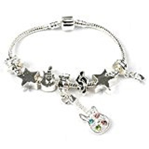 Bling Rocks Liberty Charms Teenager/Tween 'Rockstar ' Silver Plated Charm Bracelet. with Gift Box and Velvet Pouch. Ideal 13th/16th Birthday Present 20cm (Other