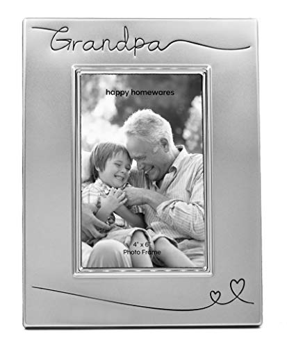 """Haysom Interiors Beautiful Two Tone Silver Plated Grandpa 4"""" x 6"""" Picture Frame with Black Velvet 