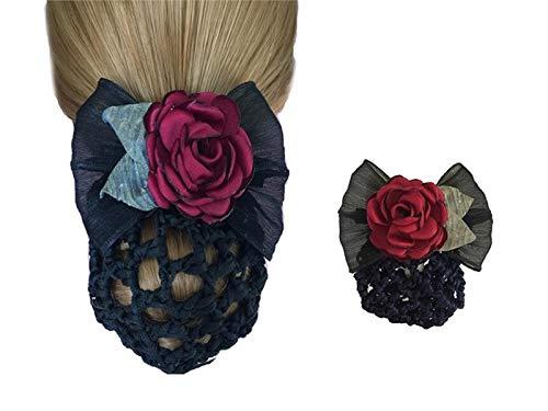 Mädchen Frauen Snood Net Bun Couverture Cheveux Net Clip Bowknot Pince À Cheveux En Épingle À Cheveux Noeud papillon Snood Net Lady Strass Arc Noeud_Noir