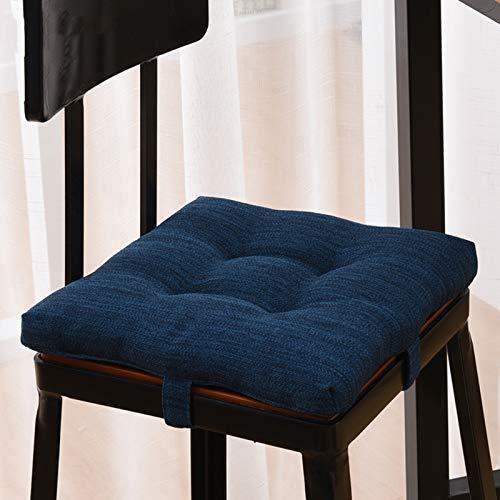 Solido Cuscinetti Per Sedie Con Legami Piazza Cotone Cuscini Per Sedie Morbido Addensare Cuscino Da Seduta Antiscivolo Cuscino Da Pavimento Per Cucina Da Pranzo Ufficio Casa Decoro-Blu scuro 35x35cm(14
