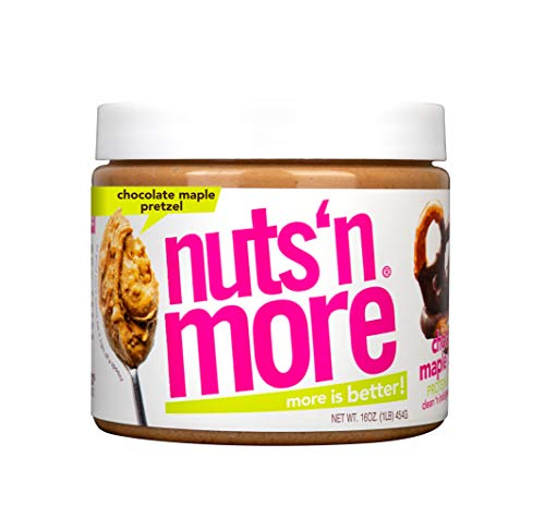 Nuts 'N More Chocolate Maple Pretzel Peanut Butter Spread, All Natural High Protein Nut Butter Healthy Snack, Omega 3's, Antioxidants, Low Carb,Low Sugar,Gluten-Free, Non-GMO,No Preservative,16 oz Jar