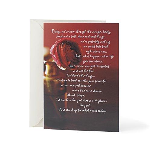 Hallmark Mahogany Love Greeting Card (Red Rose Glass Vase)