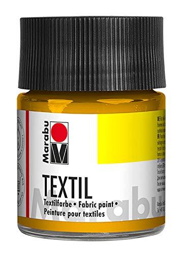 Marabu 17160005021 - Textil Stoffmalfarbe mittelgelb 50 ml, Stoffdruckfarbe auf Wasserbasis, für helle Stoffe, waschbeständig bis 60°C, weicher Griff, einfache Fixierung durch Bügeln o. Backofen