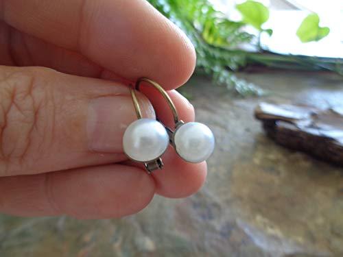 ◦ • ● ◉✿ ORECCHINI BRISUREN IN BRONZO VINTAGE BIANCO PERLA CON PERLA CABOCHON ✿◉ ● • ◦ piccoli orecchini con un cabochon rotondo nello stile di una perla d'acqua dolce