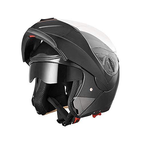 AHR Run-M Full Face Flip up Modular Motorcycle Helmet DOT Approved Dual Visor Motocross Black L