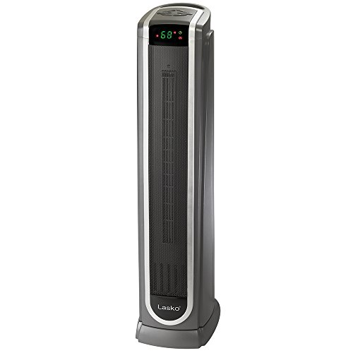 Lasko Ceramic Tower Space Heater with Logic Center Digital Remote Control-Features Built-in Timer and Oscillation, 7.3″L x 9.2″W x 29.75″H, Black 5572 Ceramic Heater Space