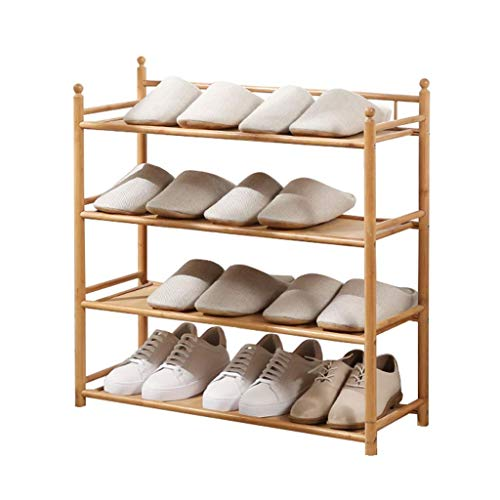 GAXQFEI Rack de Zapatos Zapatos de Bambú de 4 Capas Zapatillas de Alenamiento de Tacones de Tacón Alto para Sala de Estar Pasaje de Zapatos de Dormitorio de Calendario Puede Acomodar 12 Pares de Zapa