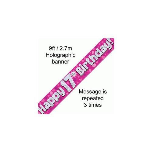 2,7 m cœurs rose et argent holographique Happy 17th Birthday Banner (2.7 m de longueur) Emballage original