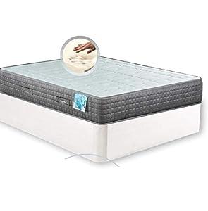 MI CAMA ME LLAMA ESPECIALISTAS EN DESCANSO Canapé de Madera Cheap + Colchón viscoelástico Reversible Premium - Montaje Incluido (Blanco, 135x190)