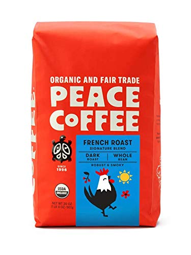Peace Coffee French Roast (Peru Origin), Organic Fair Trade Dark Roast Coffee, Whole Bean 20 oz. Bag