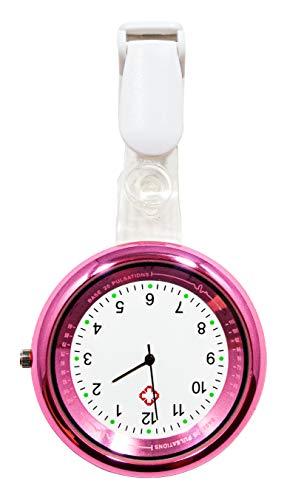 Ellemka - JCM-2103 NN H+ Pulse Scale Case | Krankenschwesternuhr Ansteckuhr | Analoge Anzeige mit Pulsskala | Quarz Digital | Clip ABS Hängeband | Rosa Pink