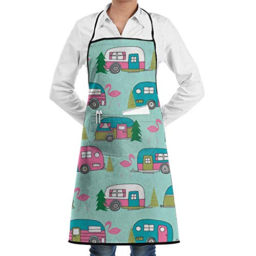 Christmas Camper Flamingo Car Tree Pattern Grill Aprons Kitchen Chef Bib Professional for BBQ Baking Cooking for Men Women Pockets
