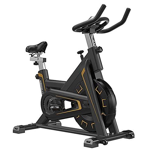 Spinning Bike Bicicleta Estática para El Hogar, Bicicleta De Ciclismo Indoor Estacionaria con Resistencia Ajustable, Bicicleta Ciclista Gym Belt Drive, Negra (Color : Black+Gold)