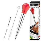 Turkey Baster, Baster set of 4, Baster syringe needles and Cleaning Brush,red