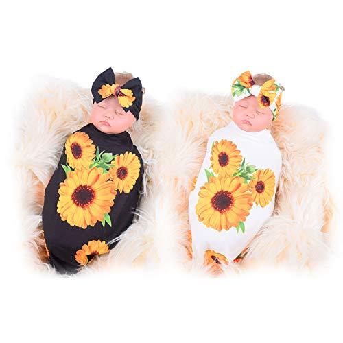Set de 2 Mantas Para Bebé, Welltop Baby Swaddle Blanket, Manta Envolvente para Bebé, aco de Dormir Bebe Recién Nacidos, 0-3 Meses