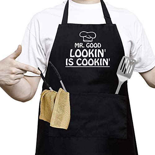 Mr. Good Looking is Cooking - Funny Cooking Apron for Men,BBQ Grill Apron for a Husband, Dad, Boyfriend or any Friend that Cooks Like a Master Chef by Aller Home and Kitchen