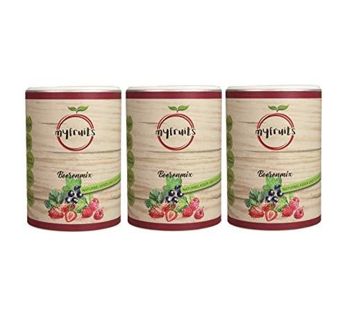myfruits® Beerenmix - Happy Morning - Mischung aus gefriergetrockneten Früchten - Ohne Zuckerzusatz - Erdbeerscheiben, Himbeeren, schwarze Johannisbeeren - 100g (3x100g)