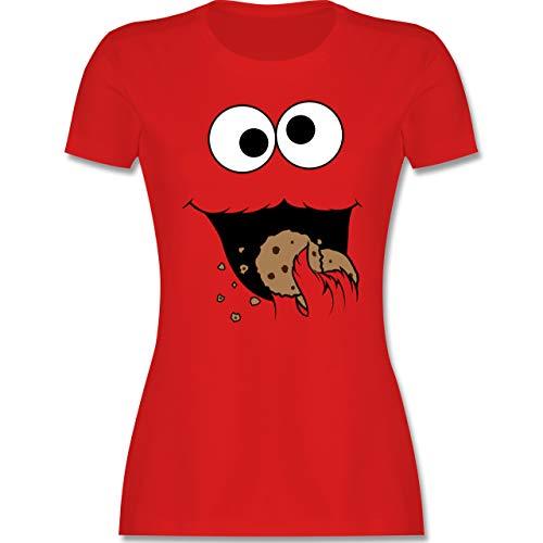 Karneval & Fasching - Keks-Monster - XXL - Rot - Fasching t-Shirt keks - L191 - Tailliertes Tshirt für Damen und Frauen T-Shirt