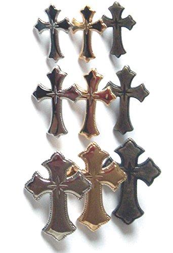 カシメ 飾りカシメ クロス(十字架キラリ柄) (ブラック, Sサイズ 17ミリ×12ミリ 足の長さ5ミリ)