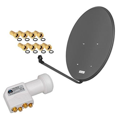 HD Digital SAT Anlage 80cm ALU Spiegel Schüssel Anthrazit + Quad LNB 4 Teilnehmer zum Empfang von DVB-S/S2 Full HD 3D Ultra HD (UHD) Signale + Stecker Gratis dazu im Set