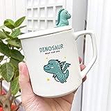 POYANG Taza de cerámica de Dinosaurio Mate de Dibujos Animados Lindo con Tapa y Cuchara Taza de Agua Estudiantes Masculinos y Femeninos Taza Creativa 400ML-Dinosaurio Alado_400 ml