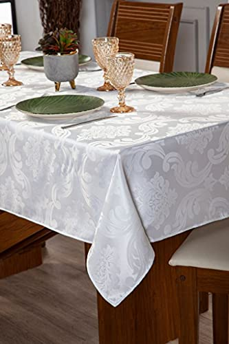 Toalha Para Mesa Com 04 Lugares Sala Jantar Tecido Grosso Jacquard 1,50m Branco