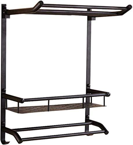 Toalleros de barra Estantes de baño de estantería de secado plegables, 500 * 530 mm Black Black Toaller Cepillado Bark, hotel de la Familia Montado en la pared Toaller - Punzonización / perforación gr