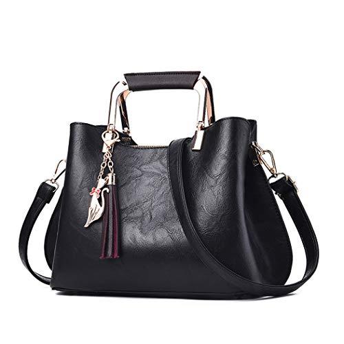 TEBIEAI Damen Handtaschen Frauen Schultertaschen PU-Leder Bowlingtaschen Umhängetaschen TEDE84026 Schwarz
