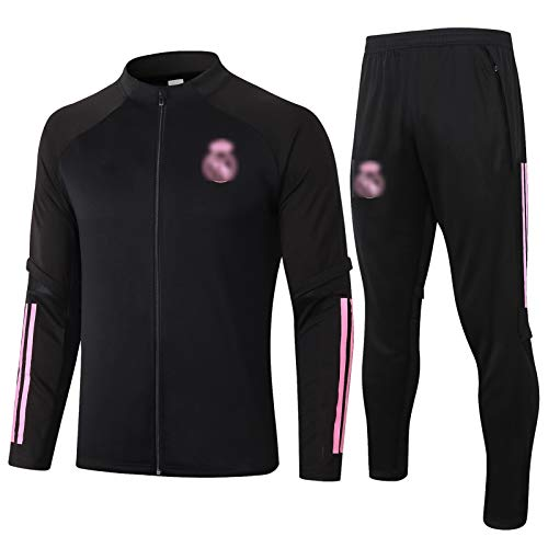 BVNGH Traje de Entrenamiento de Jersey de Fútbol Real Madrid, 2021 Nuevas Camisetas de fútbol de Manga Larga para Hombres, Tela Transpirable y de Secado rápido (S-XXL) Black-S