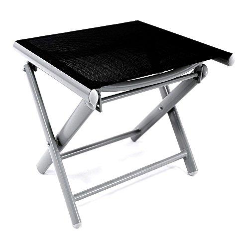 Mojawo® Garten - Fußhocker - zusammenklappbar - Klapphocker - witterungsbeständiges Aluminium - wetterfeste Gartenmöbel - Silber/Schwarz