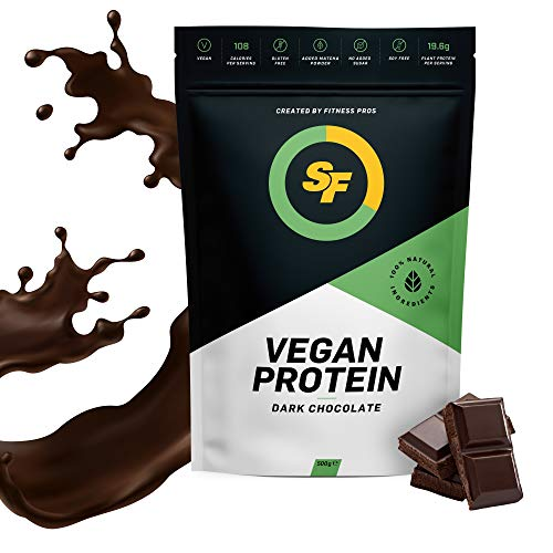 SF Vegan Protein Powders - Plant Based Pea Protein Powder Isolate - Gluten Free, Sugar Free, Dairy Free, Soy Free & Low Carb Vegan Protein Supplement (Dark Chocolate, 500g)