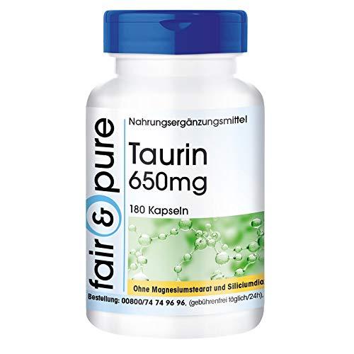 Taurina vegana en Cápsulas - Aminoácido Taurina 650mg - Alta pureza - 180 Cápsulas