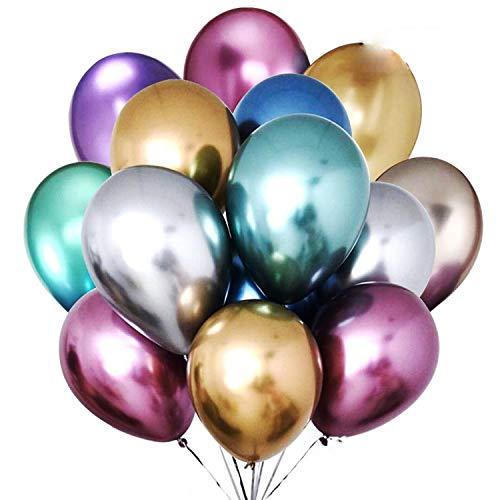 Gxhong Globos metálicos, 50 Piezas globos brillantes de 12 Globos de colores de látex para fiestas en globos de oro, rojo, azul, morado, plateado y verde para cumpleaños, decoraciones de fiestas