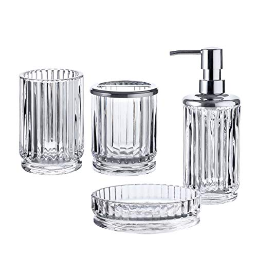 WHOLE HOUSEWARES Bathroom Accessories Set, 4-Piece Glass Bath Accessory Completes with Soap/Lotion Dispenser, Toothbrush Holder, Tumbler and Soap Dish (Clear)
