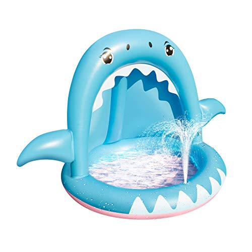 Baby Pool,Shark Sprinkler Inflatable Kiddie Pool for Toddlers with Canopy,Splash Padding Pool with Bubble Base for Kids Indoor/Outdoor Garden Backyard Summer Beach Water Fun,6 Months to 3 Years Old