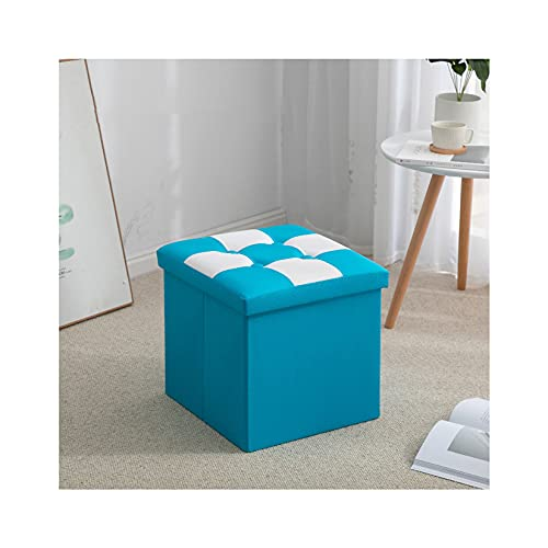 Plegable Otomana Caja De Almacenamiento Asiento,Impermeable Cuero Sintético Taburete Tapizado con Almacenaje Moderno Sala Sofá Puf Reposapiés-Azul-Grande
