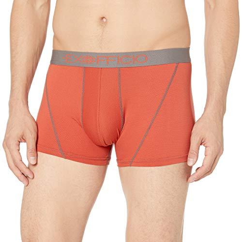 ExOfficio Men's Give N Go Sport Mesh 3'' Boxer Brief Base-Layer-Bottoms, Retro Red/Slate, S