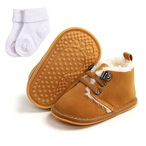 ENERCAKE Baby Booties Newborn Boy Girl Shoes Winter Warm Fur Lining Non-Slip Lace Up Prewalker Boots(6-12 Months Infant, B-dark brown With Socks)