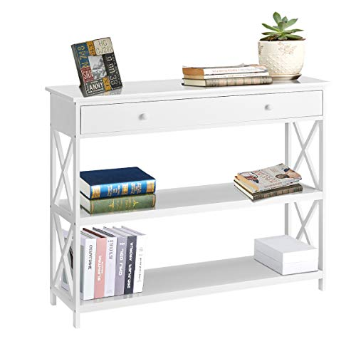 MELLCOM Console Table Sofa Table Entryway Table 3 Tiered Sofa Table Classic X Design with Drawer, Entryway Hall Table, Narrow Easy Assembly White