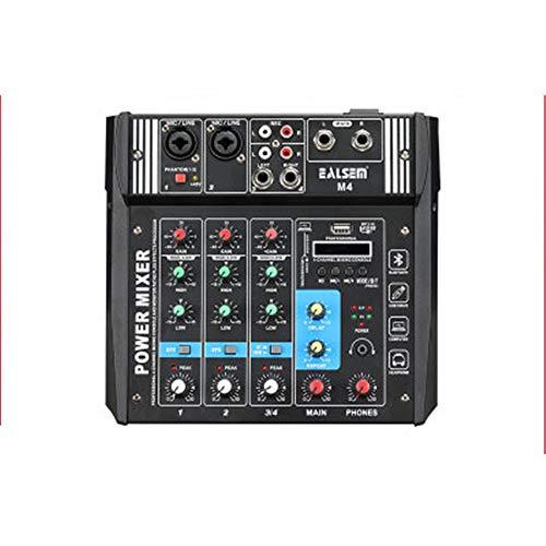 DorisAA-Mixer Petit amplificateur de Puissance 4 canaux de mixage de mixage USB Bluetooth Machine Haute Puissance équilibre avec Carte USB/SD Interface USB (Couleur : Noir, Taille : Taille Unique)